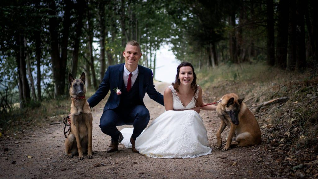 Séance couple mariage chiens malinois robe famille costume alsace